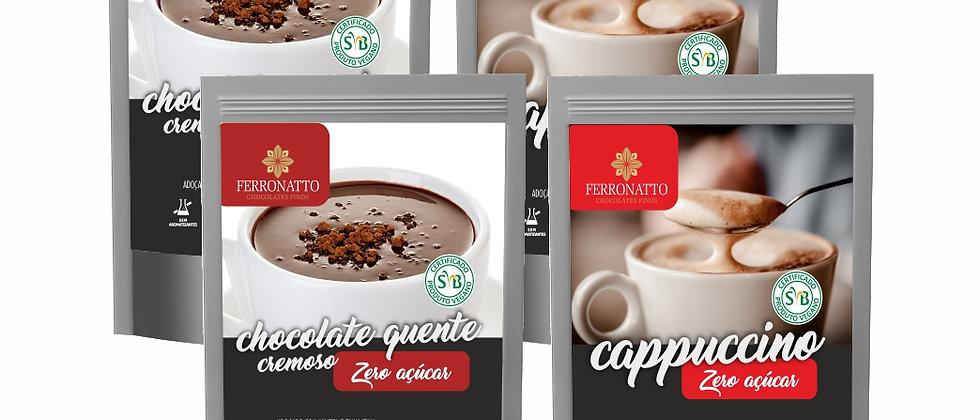 Combo Zero Açúcar - 2 Chocolates Quentes e 2 Cappuccinos