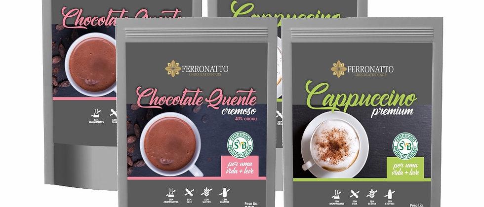 Combo Linha Mais Leve - 2 Chocolates Quentes e 2 Cappuccinos
