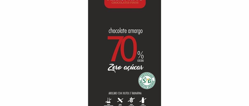 Barra de Chocolate Amargo 70% Cacau Zero Açúcar - 90g