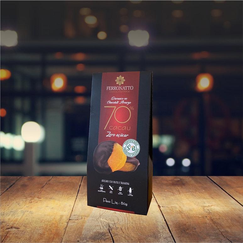 Damasco no Chocolate 70% Cacau Zero Açúc