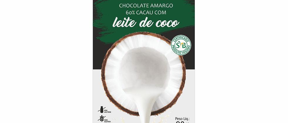 Barra Chocolate Amargo 60% cacau com Leite de Coco - 90g