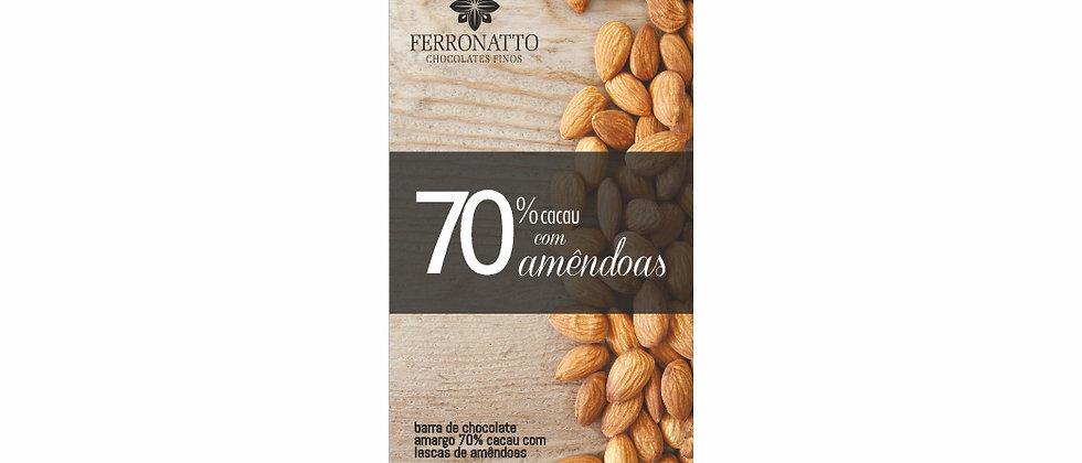 Barra de Chocolate Amargo 70% cacau com Lascas de Amêndoas - 80g