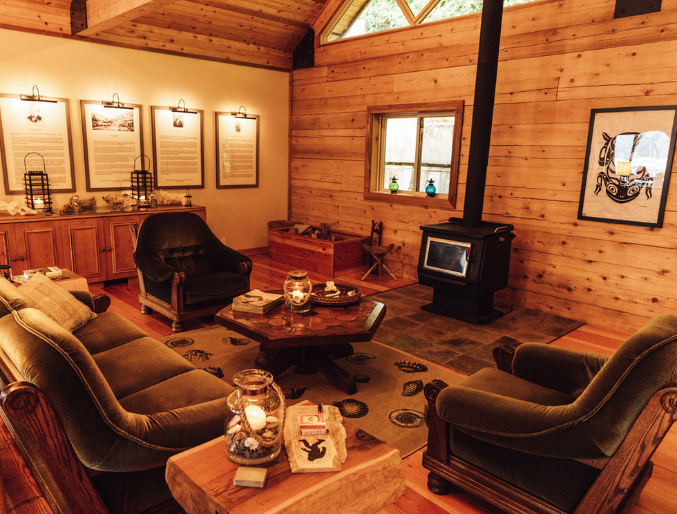 Great room at Klahoose Wilderness Resort