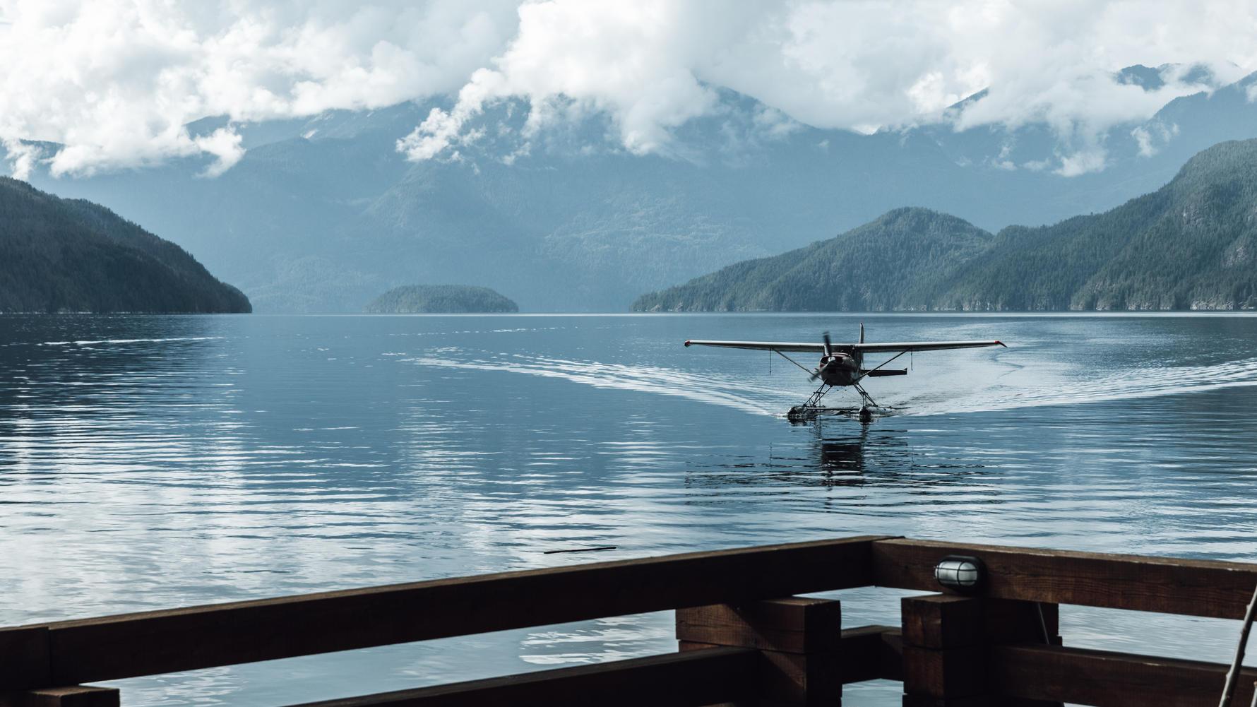 Seaplane arriving at Klahoose Wilderness