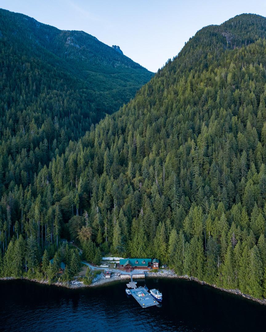 Klahoose Wilderness Resort from above
