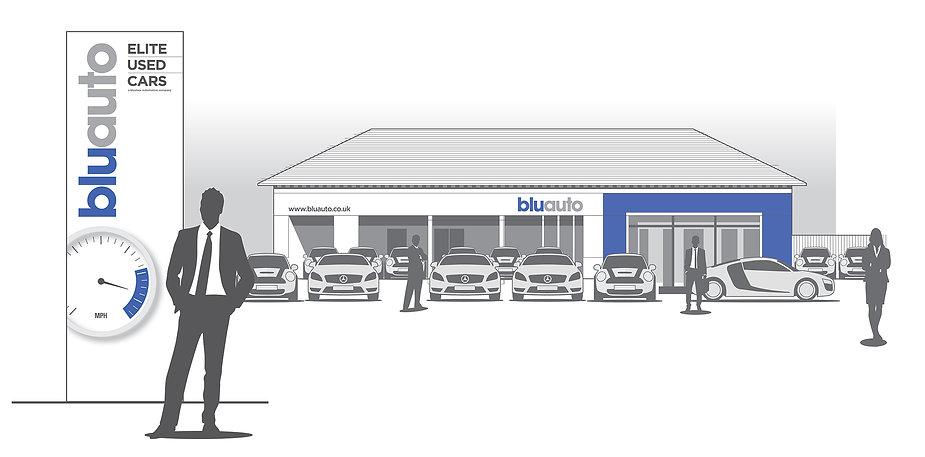 Exterior graphic desing concept for a motor deler