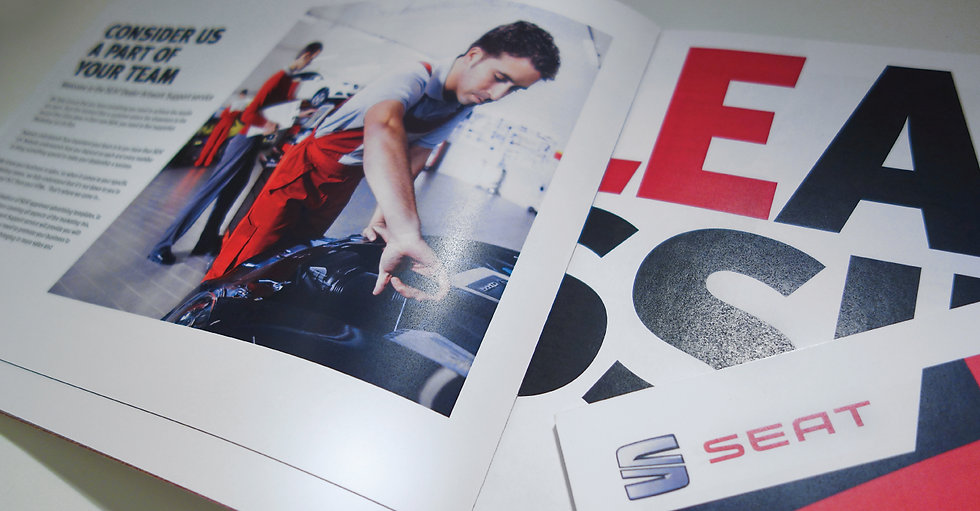Graphic design example from SEAT Spanish car manufacturer brochure