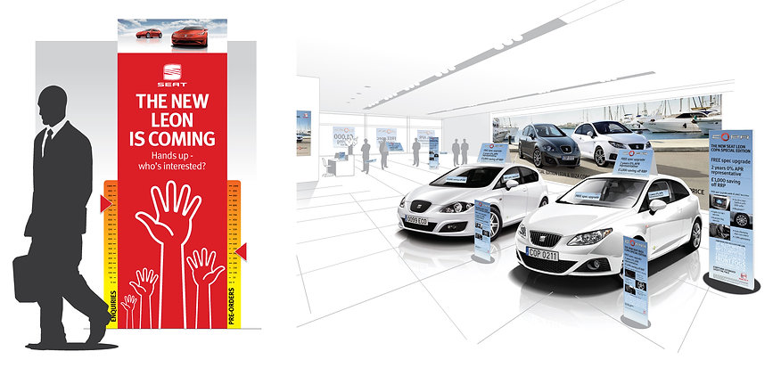 Illustration visual concept of motor dealer showroom