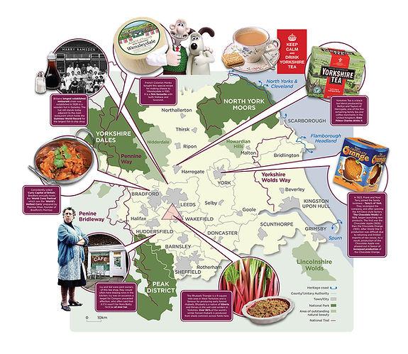 Illustartion of Yorkshire food map