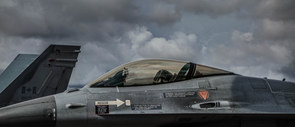 Side profile of F-16 fighter jet canopy