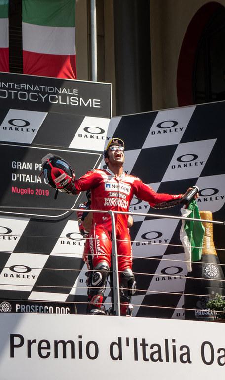 2019 Mugello MotoGP podium with Danilo Petrucci