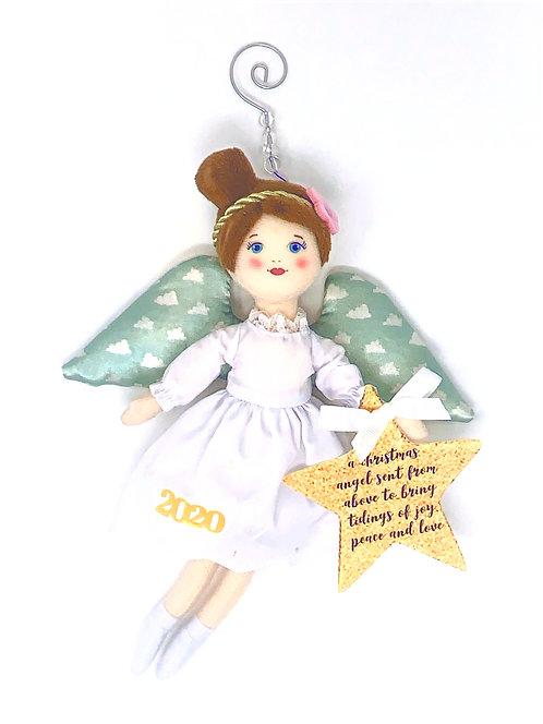 2020 Christmas Angel Ornament - White Ribbon
