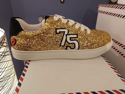 Sneakers Simone College Glitter Gold Bon baisers de paname 💋