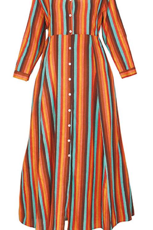 Robe Longue Rayée Marron