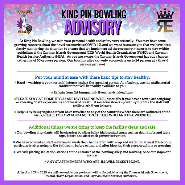 KING PIN BOWLING STATEMENT - Coronavirus