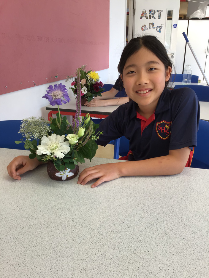 Year 6 learning floristry techniques