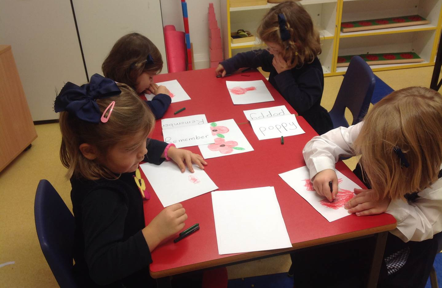 Making Poppies for Remembrance Day in Pre-Reception