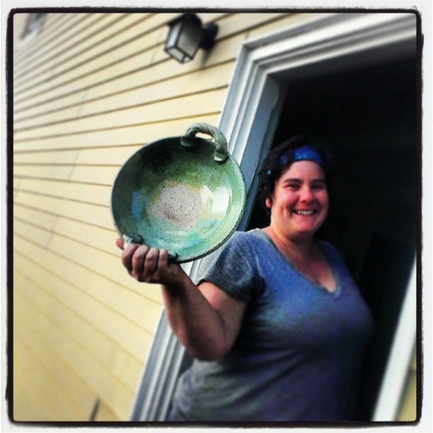 Danielle holding her platter aloft!