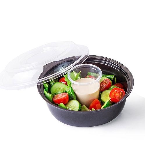 Контейнер PS для салата КД-110 450 мл чёрный (дно с соусником)