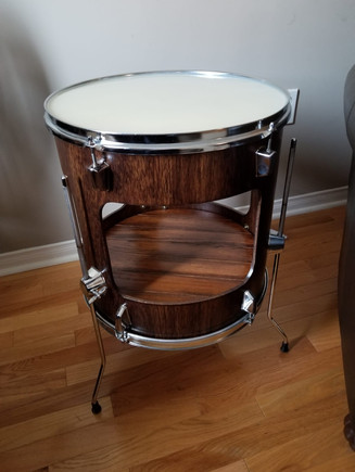 Floor Tom Table- Walnut, White Epoxy Top