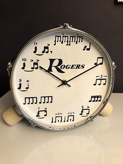 """10"""" Tabletop Drum Clock Wood Legs"""