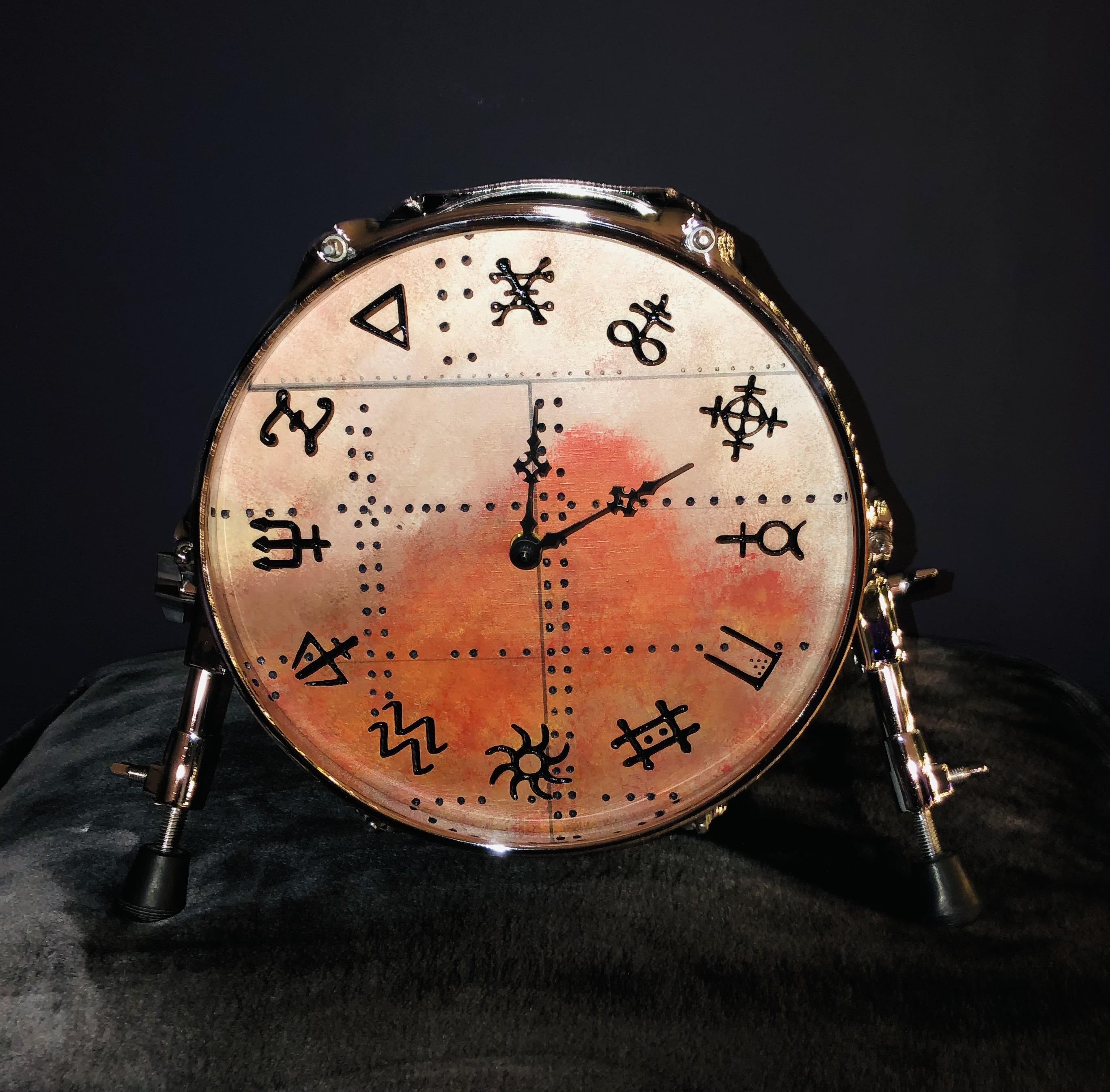 RUSH tabletop drum clock