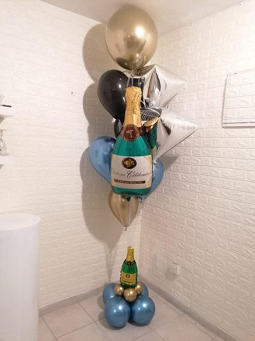 """זר בלונים ענק """"שמפניה"""" מפואר"""