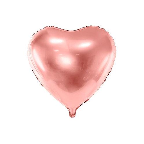 """בלון """"לב"""" בצבע-רוזגולד"""