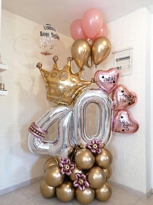 מעמד בלונים ליום הולדת 40 רוזגולד