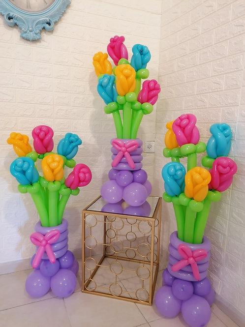 """זר פרחים """"טוליפ"""" צבעוני"""