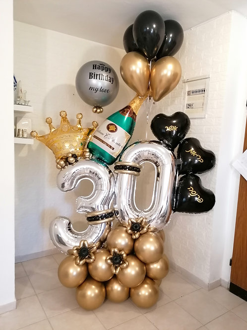 """מעמד בלונים """"שמפניה"""" ליום הולדת"""