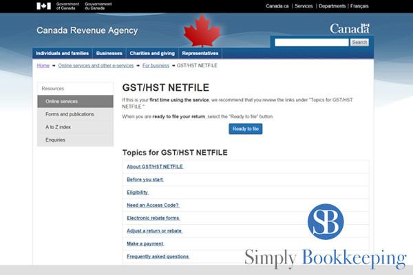 GST HST NetFile