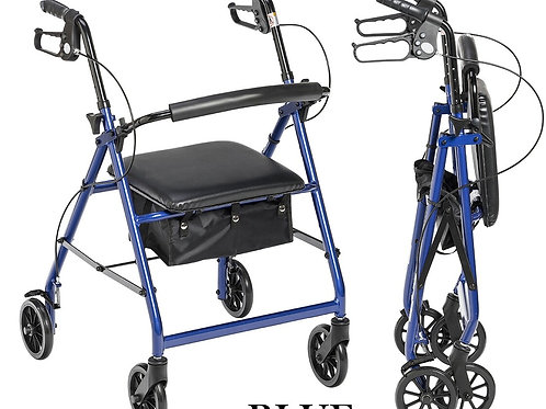 """Aluminum Rollator with 6"""" Wheels, Padded Seat & Removable Padded Backrest"""