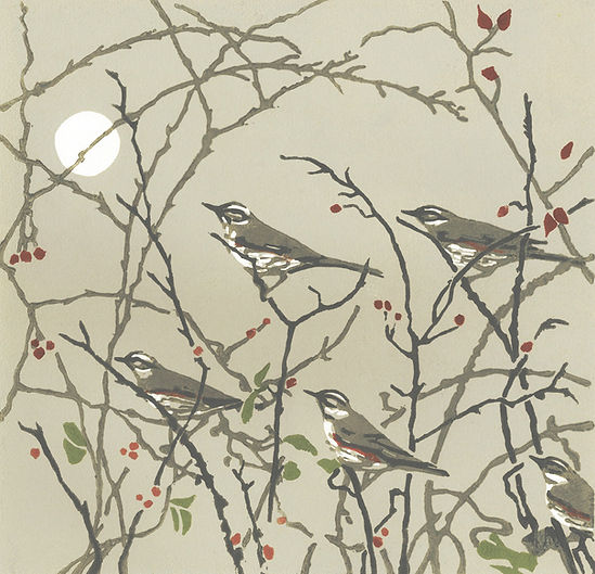 'Evening redwings' linocut.jpeg