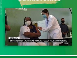 Enfermeira paulista é a primeira pessoa vacinada no Brasil