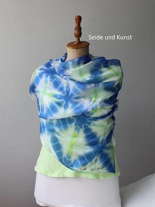 New Shibori in Blau, Grün, Weiß