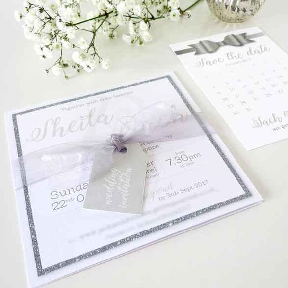 Shimmer wedding invite, save the dates, favours, table settings and numbers