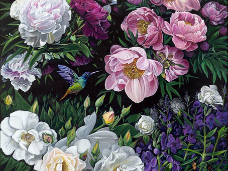 Peony Painting - Garden of life sold and off to Florida
