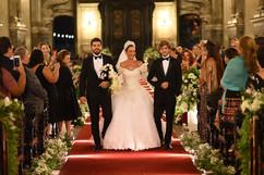 Adriana de Rivera com seus filhos Daniel e Sebastian Rivera, na renovação dos 25 anos de matrimônio