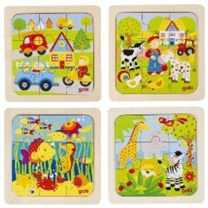 Puzzle legno 9 pz. 4 soggetti