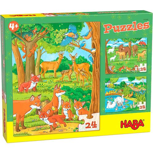 3x24 pz. Haba - Famiglie di animali