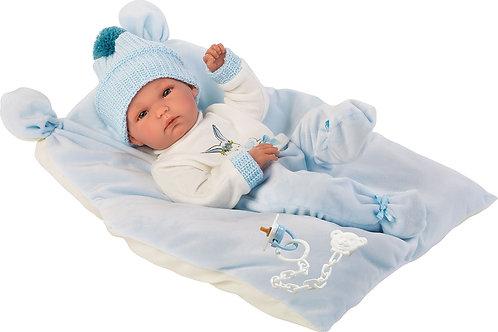 Bambola New Born Vinile cm. 35 Pipo vestito c/coniglietto