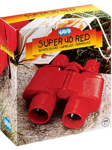 Binocolo rosso con custodia