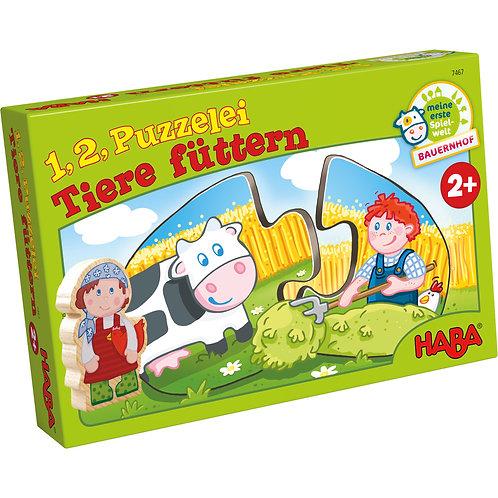 2 pz. Haba - 1, 2 puzzle - dar da manghiare agli animali