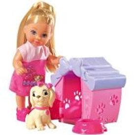 Bambola Evi love con cagnolino e cuccia