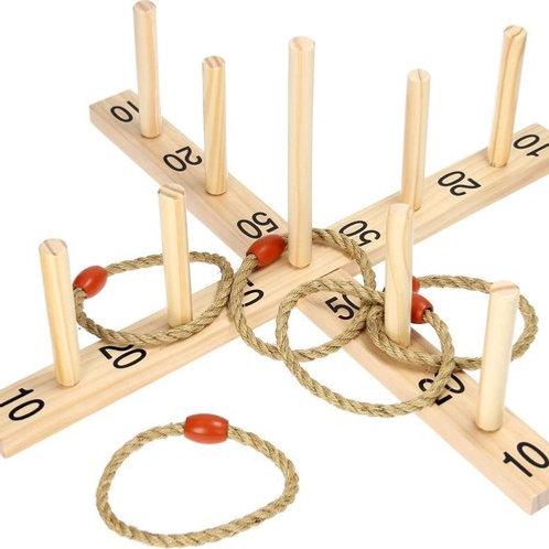 Gioco degli anelli legno e corda