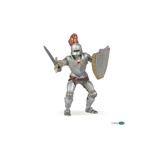 Cavaliere in armatura con piuma rossa