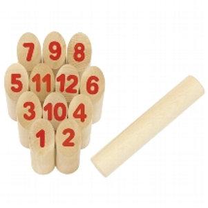 Gioco Kubb con numeri in sacchetto cotone