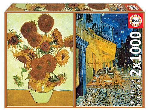 Puzzle 1000 pz. - Van Gogh, Girasoli + Terrazza del caffé la sera