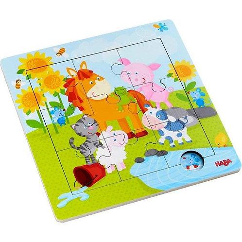 Puzzle 9 pz. in cornice di legno - Animali amici